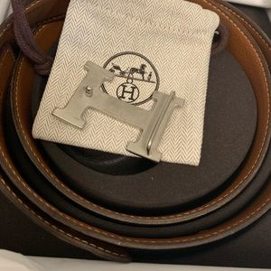 Hermes Accessories - Hermès Belt Buckle & Reversible Leather Strap 32MM